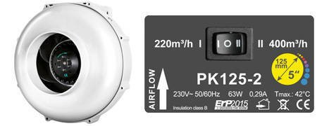 PK125 MES Two Speed - 400m3/h